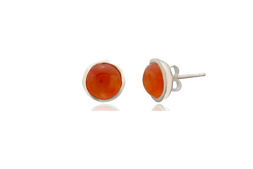 Sterling Silver Carnelian Round Stud Earrings