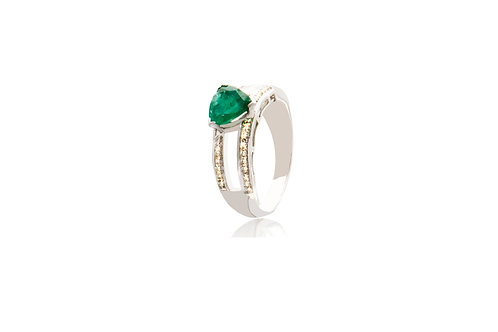 Sterling Silver Diamond Emerald Triangle Ring
