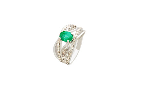 Sterling Silver White Gold Plated Natural Emerald Diamond Ring
