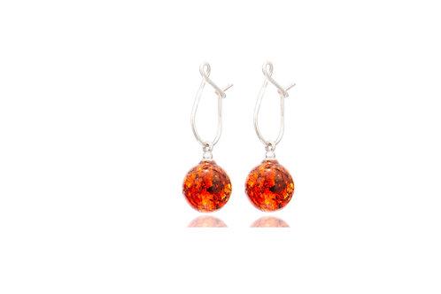 Sterling Silver Amber Ball Earrings