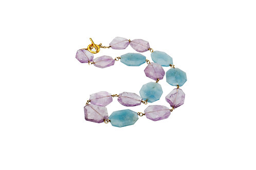 Sterling Silver Gold Plated Amethyst Aquamarine Necklace