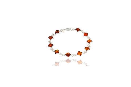 Sterling Silver Amber Square Bracelet