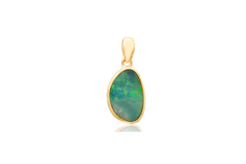 Sterling Silver Rose Gold Plated Doublet Opal Irregular Pendant