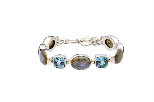 Sterlig Silver Labradorite Blue Topaz Oval Square Bracelet