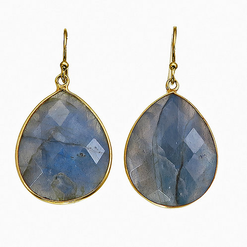 Labradorite Gold Plated Sterling Silver Earrings