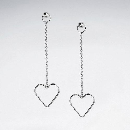 Silver Open Heart Dangle Earrings