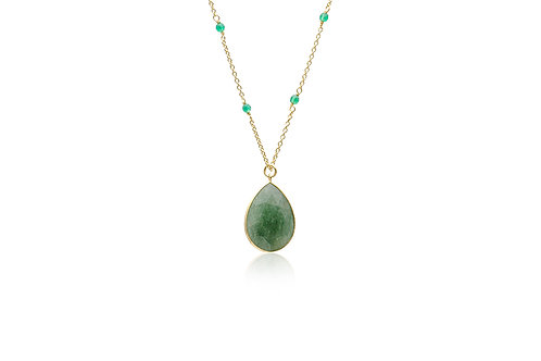 Gold-Plated Aventurine Green Agate Necklace