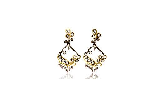 Sterling Silver Gold Plated Diamond Polki Post Earrings