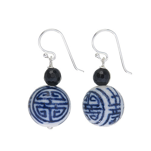 Antique Blue and White Porcelain Bead Earrings
