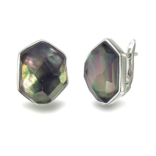 Sterling Silver Earrings with Grey Mother of Pearl