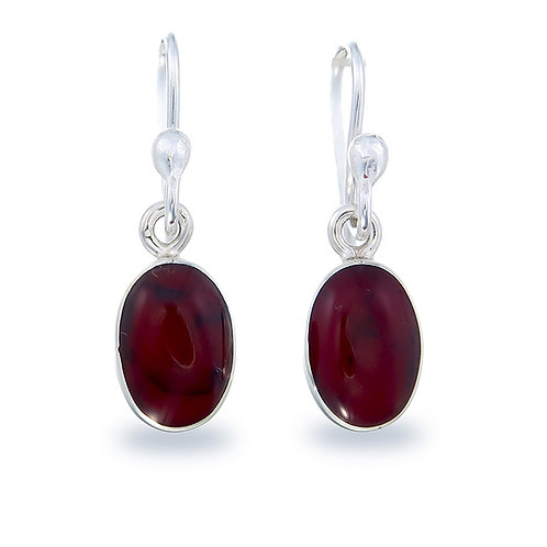 Oval Red Jasper Earrings