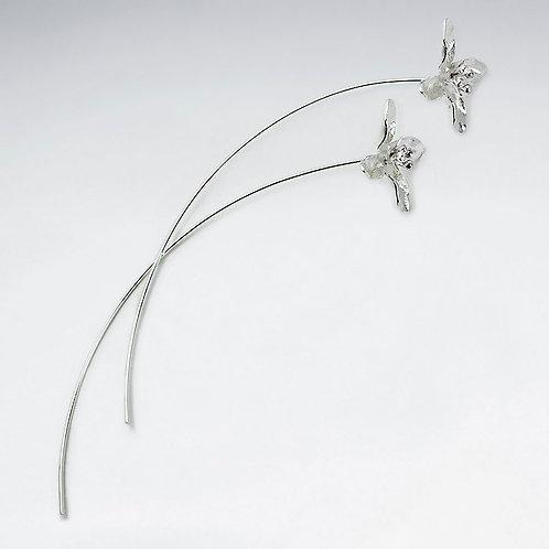 Sterling Silver Matte Flower Modern Earrings