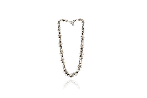 Mexican Silver Ball & Chain Link Oxidized Necklace