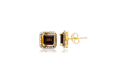 Sterling Silver Gold Plated Garnet Diamond Square Stud Earrings
