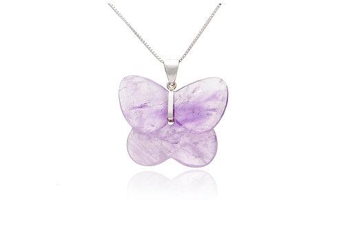 Sterling Silver Amethyst Butterfly Pendant