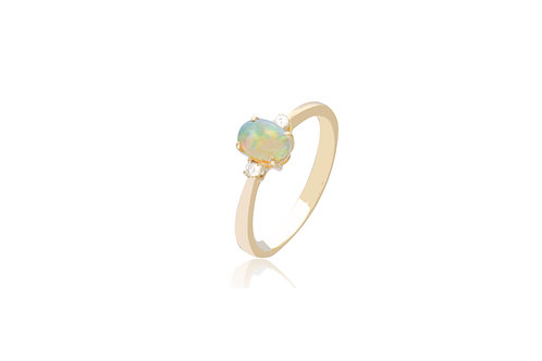 14K Gold White Opal Diamond Rings