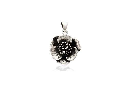 Mexican Silver Oxidized Flower 3D Pendant