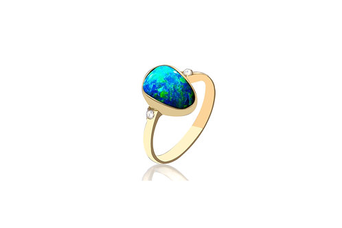 14K Gold Solid Opal Diamond Ring