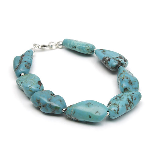 Turquoise Silver Beads Bracelet