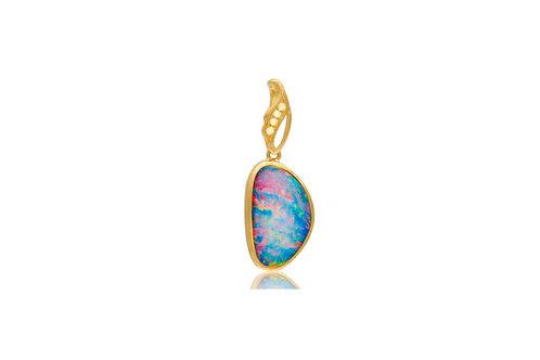 18K Gold Doublet Opal Diamond Irregular Pendant