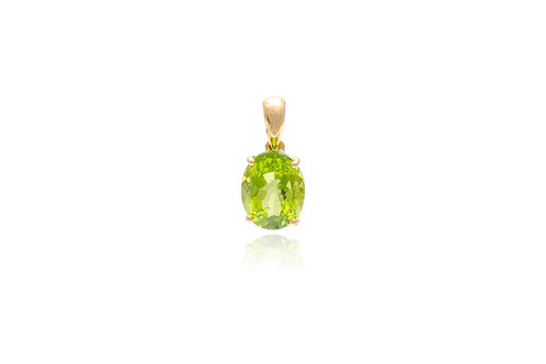 18K Gold Peridot Oval Pendent