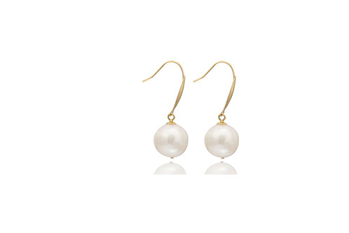 18K Yellow Gold White South Sea Pearl Earrings