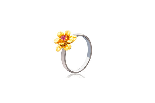 Sterling Silver Gold Plated Ruby Flower Ring