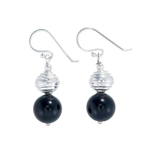 Single Onyx Bead Earrings