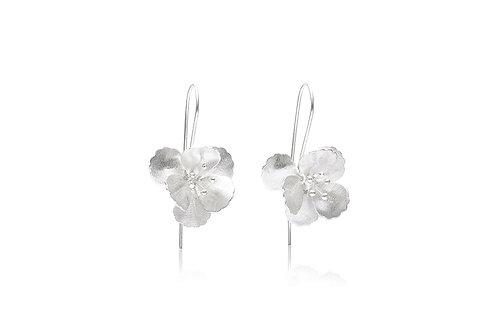 Matte Sterling Silver Layered Flower Drop Earrings