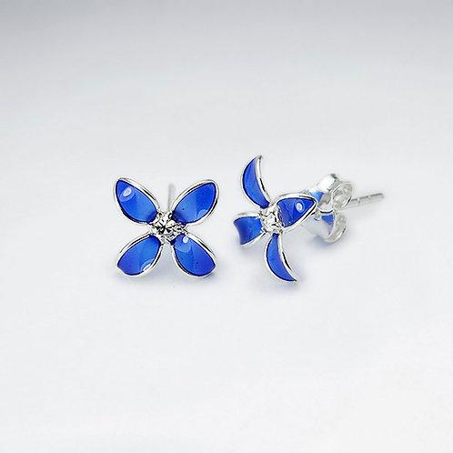 Sterling Silver Blue Enamel Cubic Zirconia Flower Stud