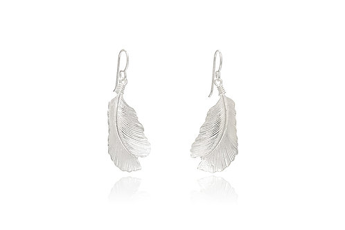 Mexican Silver Feather Earrings