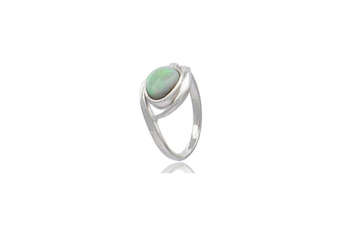 Sterling Silver White Opal Cubic Zirconia Ring