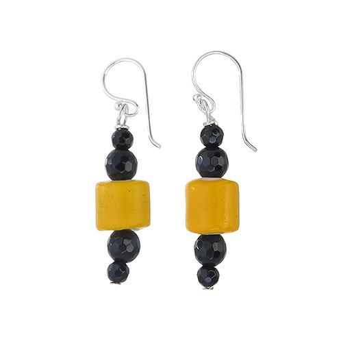 Yellow White Heart Trade Bead Earrings