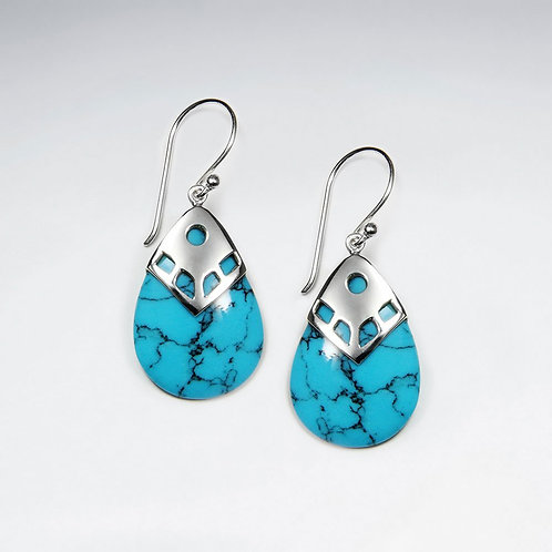 Sterling Silver Blue Turquoise Teardrop Earring