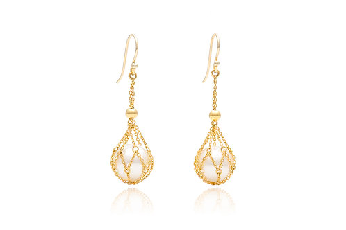 18k Gold Cage South Sea Pearl Earrings