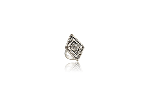 Sterling Silver Hand Made Karen Oxidized Diamond Shape Ring