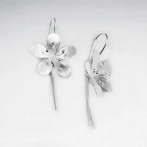 Sterling Silver Matte Flower Drop Earrings
