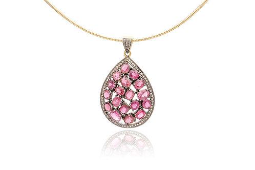 Tourmaline Teardrop Diamond Pendant