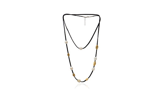 Sterling Silver Gold Plated Mix Pearl Beads Suede Necklace