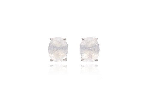Silver Moonstone Oval Studs