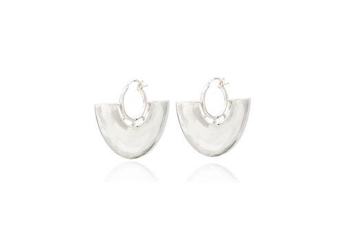 Mexican Silver Fan Hoop Earrings