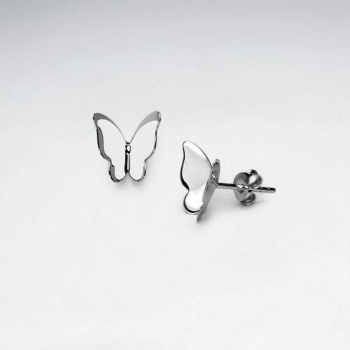Matt Sterling Silver Butterfly Stud Earrings