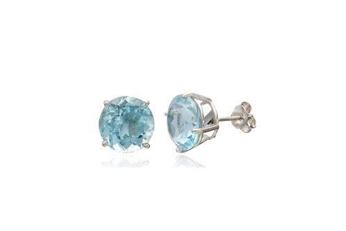 Sterling Silver Blue Topaz Round Stud Earrings