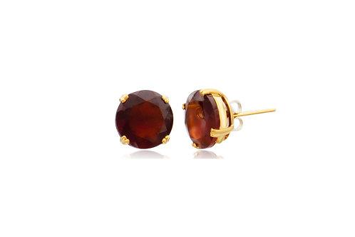 9K Gold Hessonite Garnet Round Stud Earrings