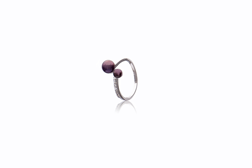 Sterling Silver Cubic zirconia Black Freshwater Pearl Ring