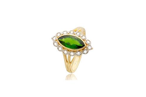 18K Gold Diamond Peridot Marquis Ring