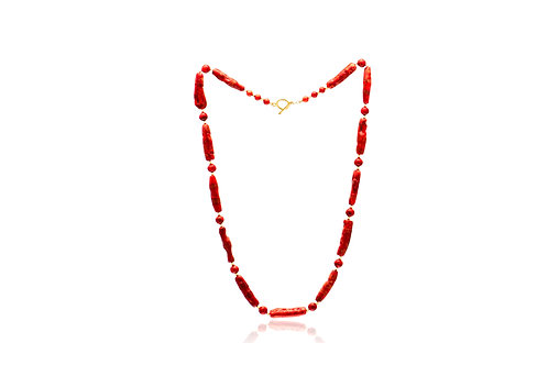 Sterling Silver Gold Plated Natural shape Coral and Beads Necklace