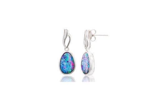 Sterling Silver Doublet opal Irregular Post Earrings