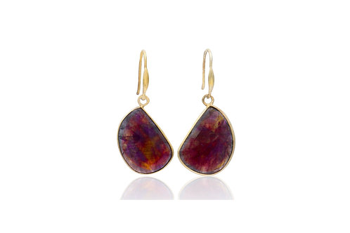 Sterling Silver Gold Plated Sapphire Irregular Earrings