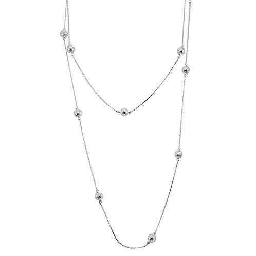 Sterling Silver Ball Station Necklace (long)